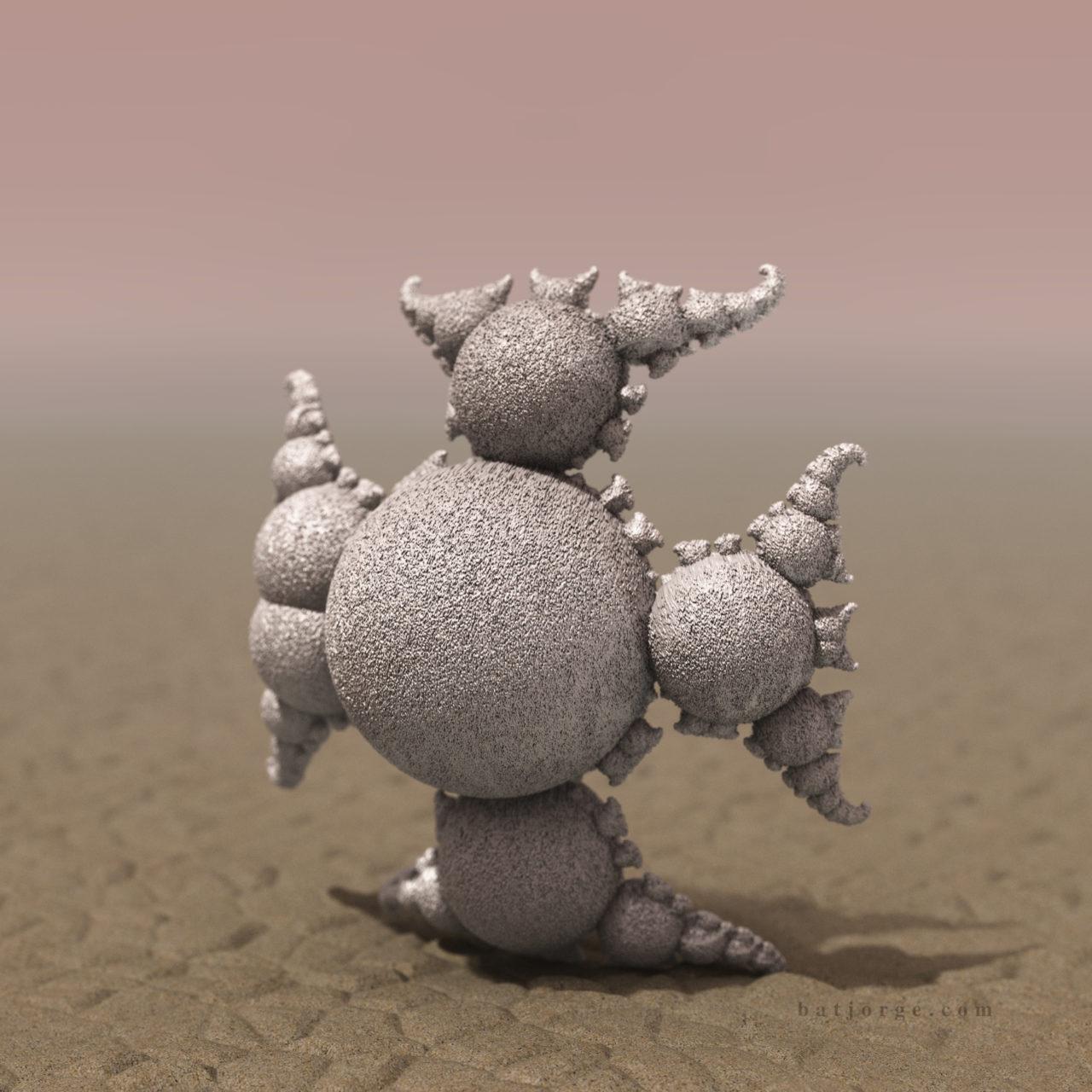 3D fractal orb. mandelbulber pseudokleinian mod 4 desert