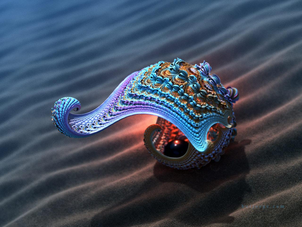 3d fractal. kleinian. mandelbulber with sphere.