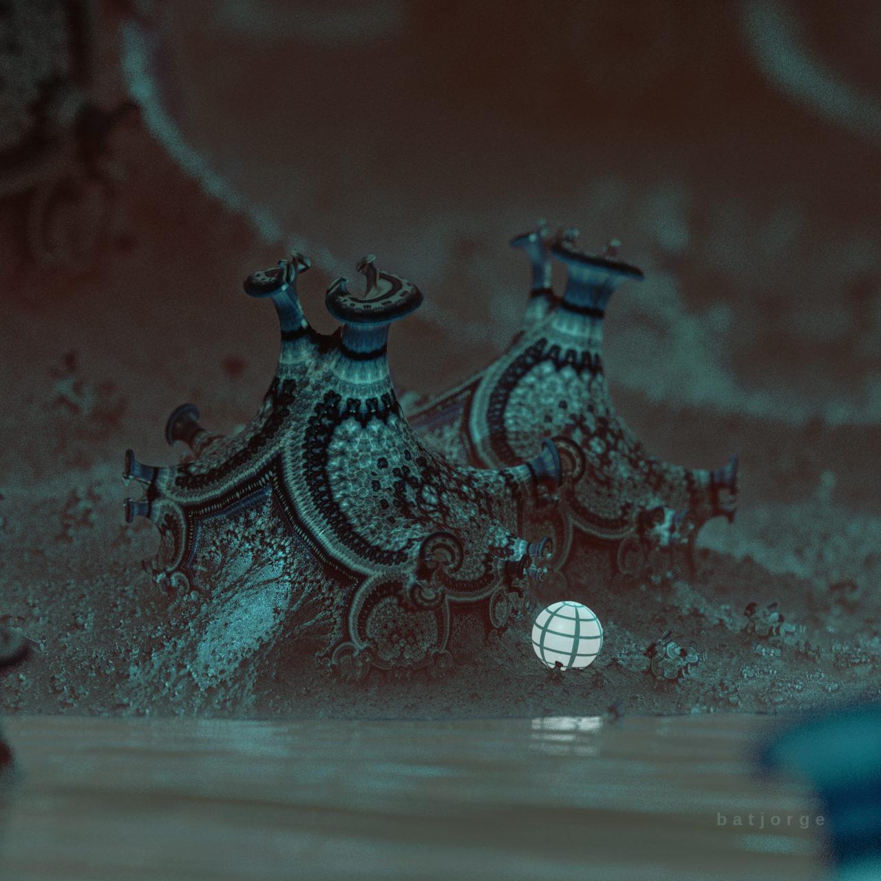 3D fractal mandelbulber amazingsurf water and luminous sphere