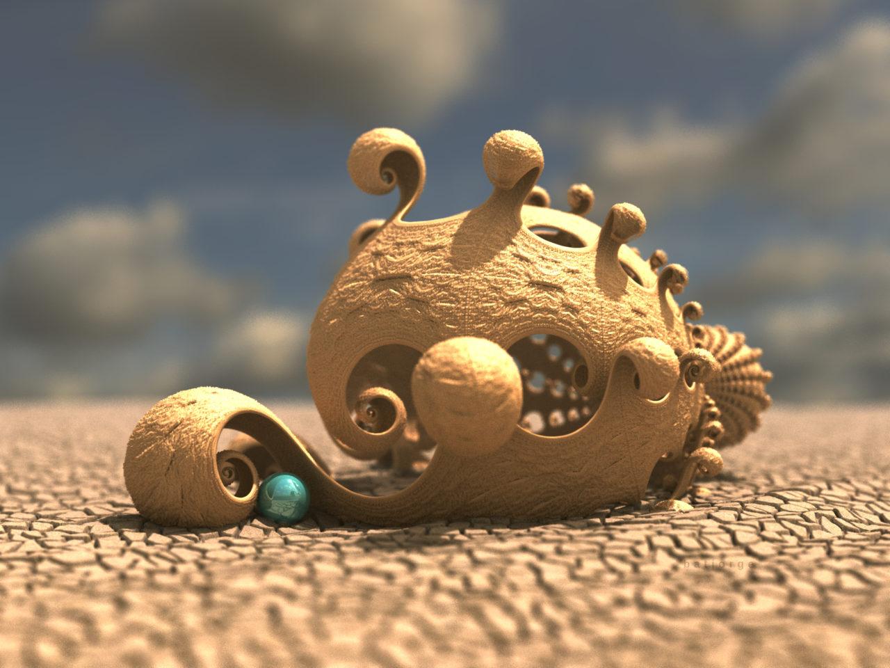 3d fractal. kleinian. mandelbulber with sphere. desertic