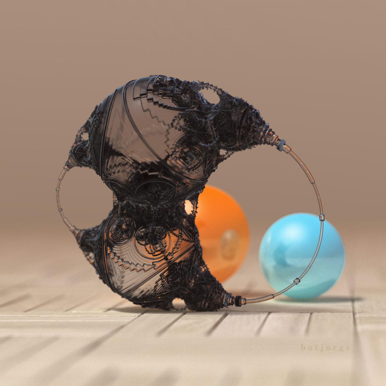 3D mandelbulber amazingsurf mod 4 transparent and spheres