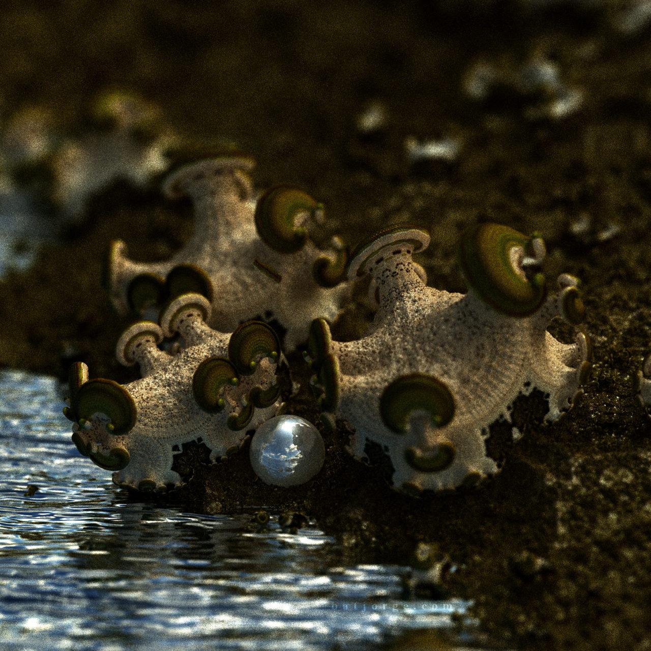 3D fractal mandelbulber amazingsurf water and sphere