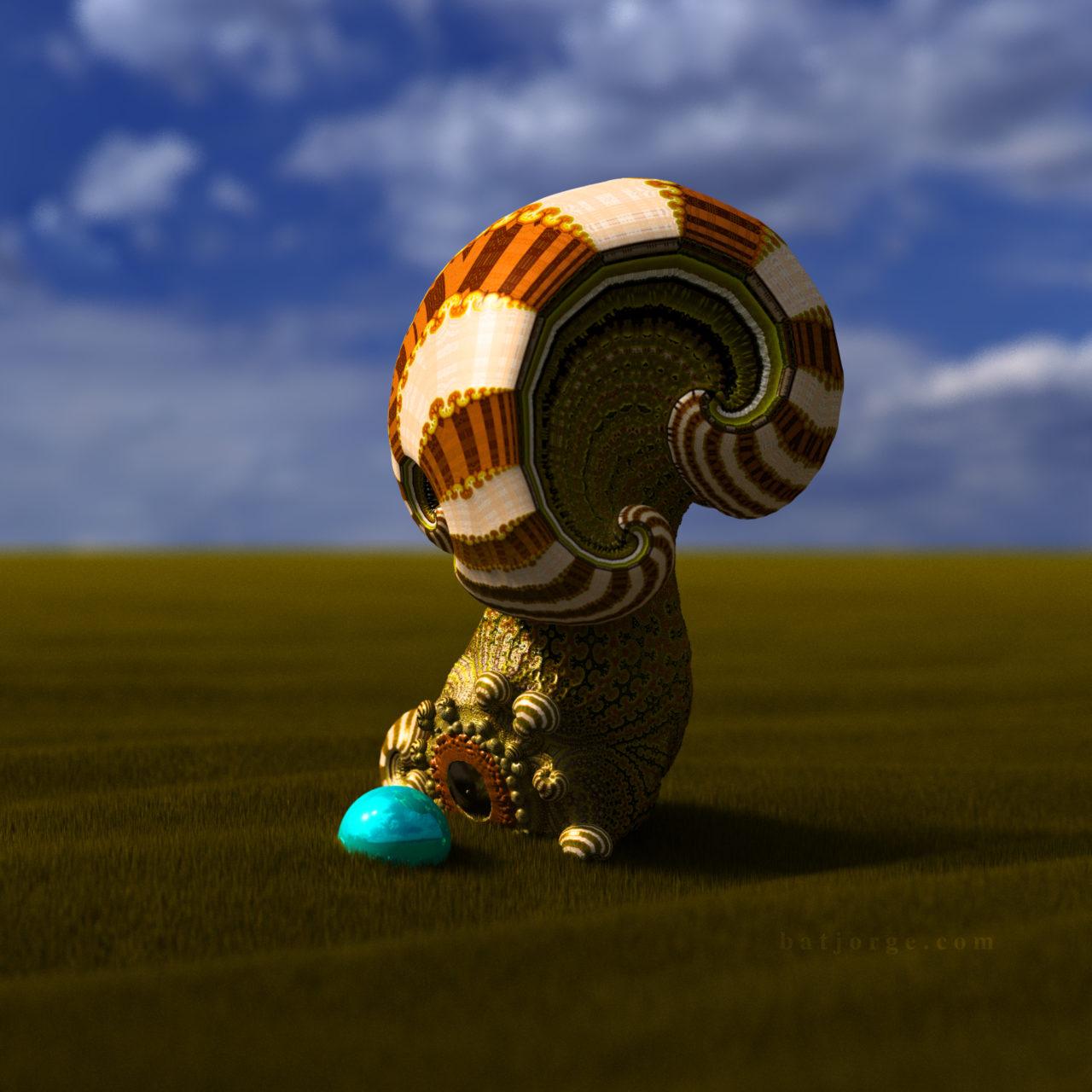 3D mandelbulber amazingsurf mod 4 grass and sphere