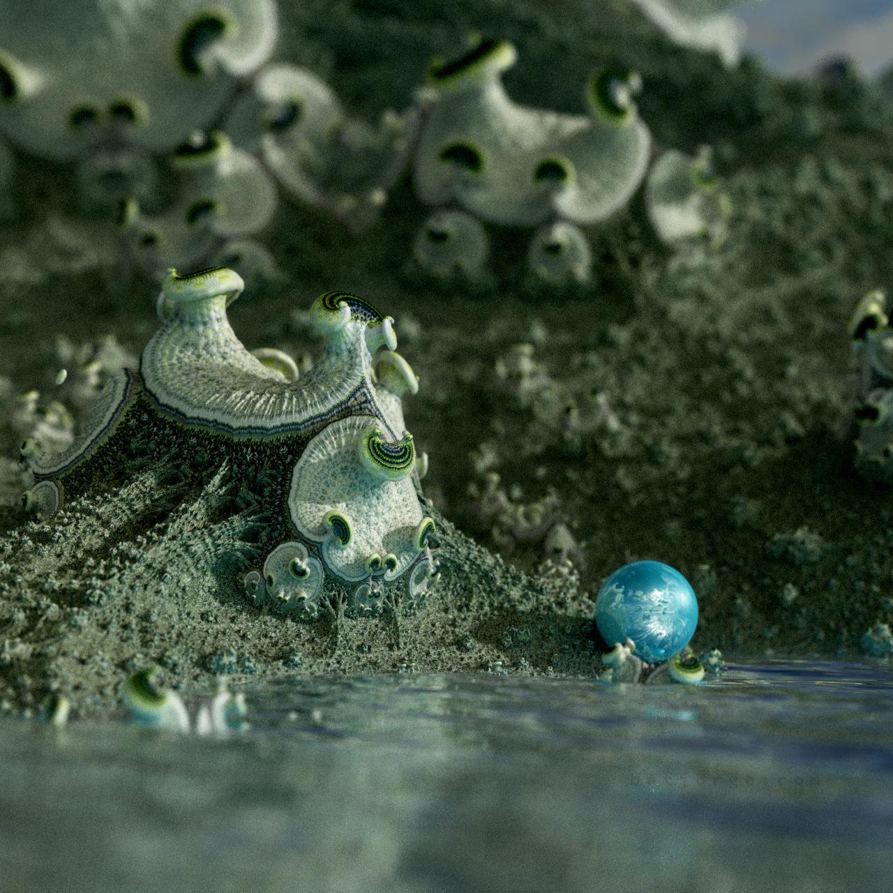 mandelbulber amazing surf with sphere. alienworld