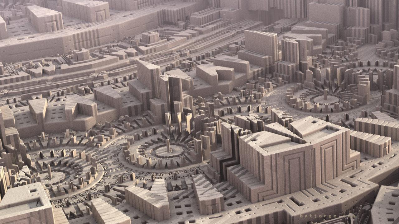 mandelbulber. difsmenger sci-fi enviroment city